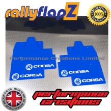 CORSA C (2000-2007) BLUE MUDFLAPS KIT (Logo White)